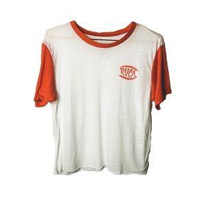 RVCA Orange Raglan Ultra-Thin Logo Baseball Tee